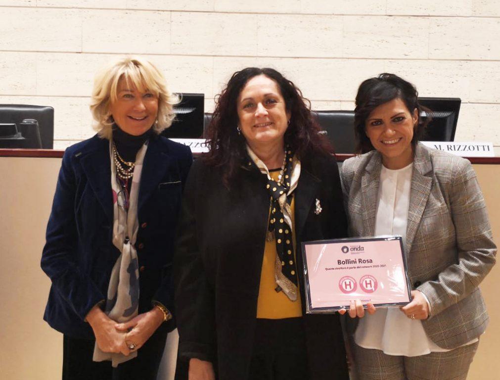 Le referenti del progetto per l'ospedale di Sassuolo, Silvia Vaccari e Cristina Tarantino, assieme al Presidente di ONDA, Francesca Merzagora